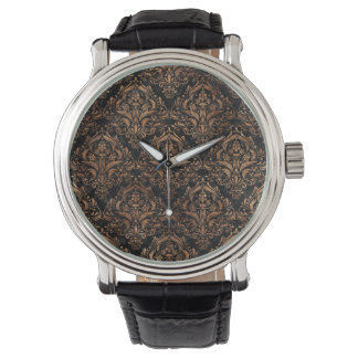 DAMASK1 BLACK MARBLE & BROWN STONE WATCH