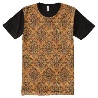 DAMASK1 BLACK MARBLE & ORANGE MARBLE (R) All-Over PRINT T-Shirt