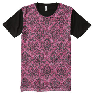 DAMASK1 BLACK MARBLE & PINK MARBLE (R) All-Over PRINT T-Shirt