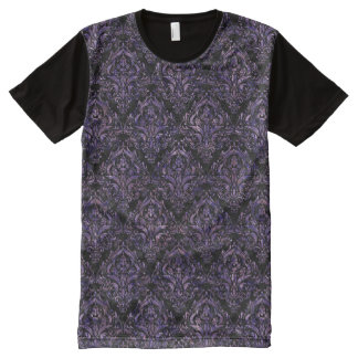 DAMASK1 BLACK MARBLE & PURPLE MARBLE All-Over PRINT T-Shirt
