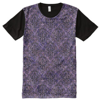 DAMASK1 BLACK MARBLE & PURPLE MARBLE (R) All-Over PRINT T-Shirt