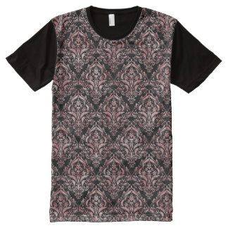 DAMASK1 BLACK MARBLE & RED & WHITE MARBLE All-Over PRINT T-Shirt