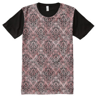 DAMASK1 BLACK MARBLE & RED & WHITE MARBLE (R) All-Over PRINT T-Shirt