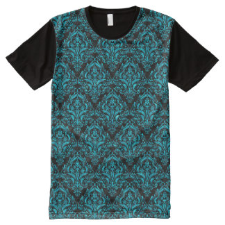 DAMASK1 BLACK MARBLE & TURQUOISE MARBLE All-Over PRINT T-Shirt