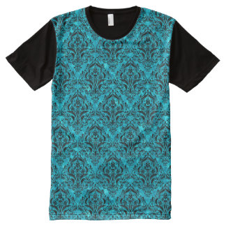 DAMASK1 BLACK MARBLE & TURQUOISE MARBLE (R) All-Over PRINT T-Shirt