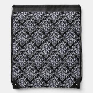 DAMASK1 BLACK MARBLE & WHITE MARBLE DRAWSTRING BAG