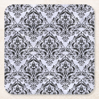 DAMASK1 BLACK MARBLE & WHITE MARBLE (R) SQUARE PAPER COASTER