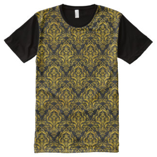 DAMASK1 BLACK MARBLE & YELLOW MARBLE All-Over PRINT T-Shirt