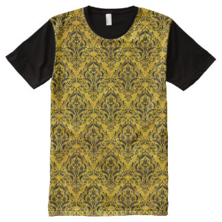 DAMASK1 BLACK MARBLE & YELLOW MARBLE (R) All-Over PRINT T-Shirt
