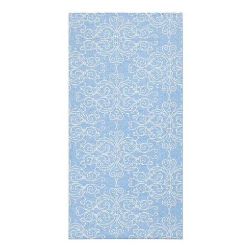 damask21 LIGHT BLUE WHITE DAMASK DECORATIVE SCROLL Picture Card