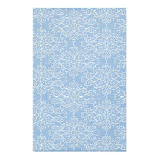 damask21 LIGHT BLUE WHITE DAMASK DECORATIVE SCROLL Customized Stationery