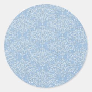 damask21 LIGHT BLUE WHITE DAMASK DECORATIVE SCROLL Sticker