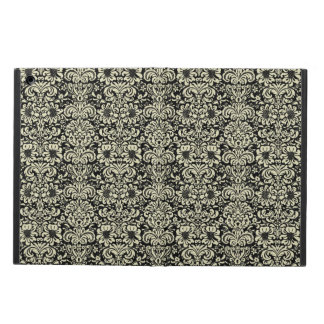 DAMASK2 BLACK MARBLE & BEIGE LINEN iPad AIR COVER