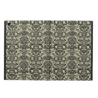 DAMASK2 BLACK MARBLE & BEIGE LINEN (R) COVER FOR iPad AIR