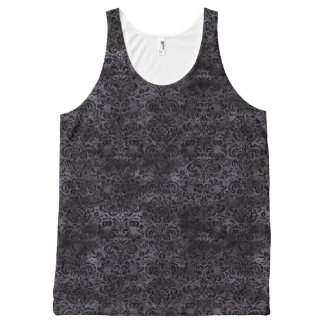 DAMASK2 BLACK MARBLE & BLACK WATERCOLOR (R) All-Over PRINT SINGLET