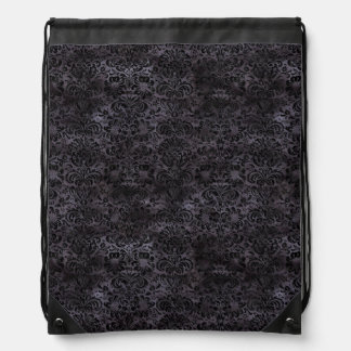 DAMASK2 BLACK MARBLE & BLACK WATERCOLOR (R) DRAWSTRING BAG