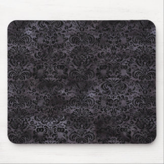 DAMASK2 BLACK MARBLE & BLACK WATERCOLOR (R) MOUSE PAD