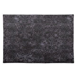 DAMASK2 BLACK MARBLE & BLACK WATERCOLOR (R) PLACEMAT