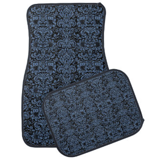 DAMASK2 BLACK MARBLE & BLUE DENIM CAR MAT