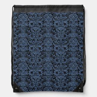 DAMASK2 BLACK MARBLE & BLUE DENIM DRAWSTRING BAG