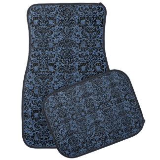 DAMASK2 BLACK MARBLE & BLUE DENIM (R) CAR MAT