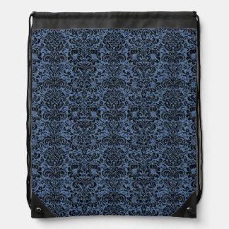 DAMASK2 BLACK MARBLE & BLUE DENIM (R) DRAWSTRING BAG