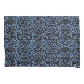 DAMASK2 BLACK MARBLE & BLUE DENIM (R) PILLOWCASE