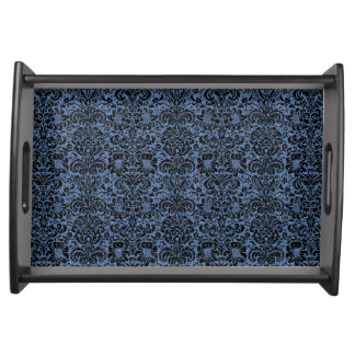 DAMASK2 BLACK MARBLE & BLUE DENIM (R) SERVING TRAY