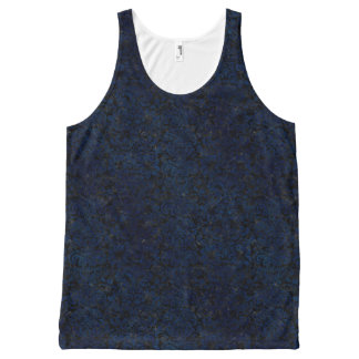 DAMASK2 BLACK MARBLE & BLUE GRUNGE All-Over PRINT SINGLET
