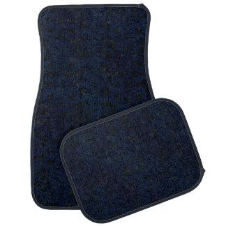 DAMASK2 BLACK MARBLE & BLUE GRUNGE CAR MAT