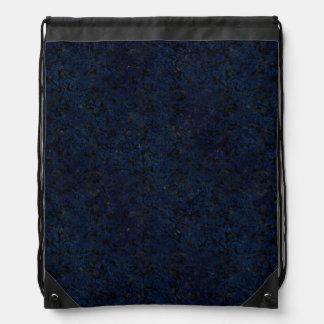 DAMASK2 BLACK MARBLE & BLUE GRUNGE DRAWSTRING BAG