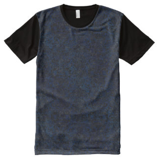 DAMASK2 BLACK MARBLE & BLUE GRUNGE (R) All-Over PRINT T-Shirt