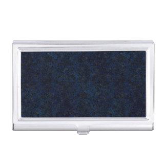 DAMASK2 BLACK MARBLE & BLUE GRUNGE (R) BUSINESS CARD HOLDER