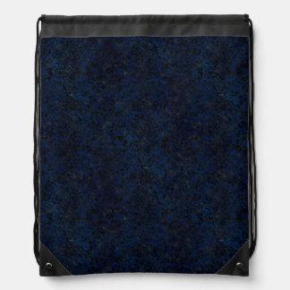 DAMASK2 BLACK MARBLE & BLUE GRUNGE (R) DRAWSTRING BAG