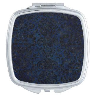DAMASK2 BLACK MARBLE & BLUE GRUNGE (R) MAKEUP MIRROR