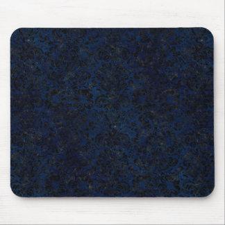DAMASK2 BLACK MARBLE & BLUE GRUNGE (R) MOUSE PAD