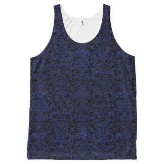 DAMASK2 BLACK MARBLE & BLUE LEATHER All-Over PRINT SINGLET