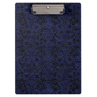 DAMASK2 BLACK MARBLE & BLUE LEATHER CLIPBOARD