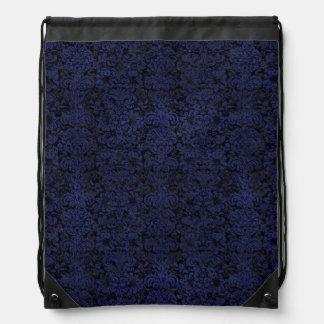 DAMASK2 BLACK MARBLE & BLUE LEATHER DRAWSTRING BAG