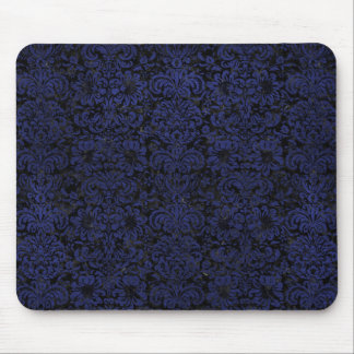 DAMASK2 BLACK MARBLE & BLUE LEATHER MOUSE PAD