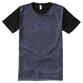 DAMASK2 BLACK MARBLE & BLUE LEATHER (R) All-Over PRINT T-Shirt