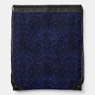 DAMASK2 BLACK MARBLE & BLUE LEATHER (R) DRAWSTRING BAG
