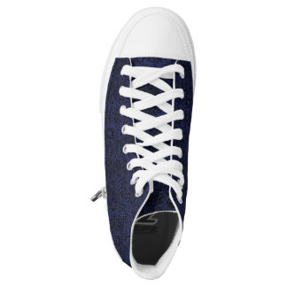 DAMASK2 BLACK MARBLE & BLUE LEATHER (R) HIGH TOPS