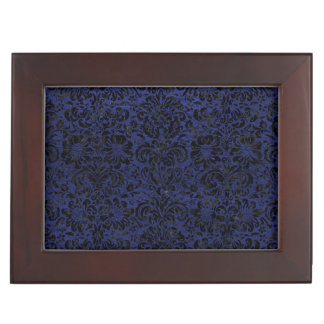 DAMASK2 BLACK MARBLE & BLUE LEATHER (R) KEEPSAKE BOX