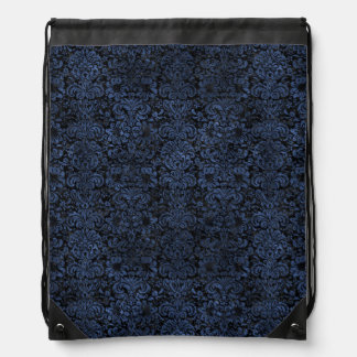 DAMASK2 BLACK MARBLE & BLUE STONE DRAWSTRING BAG