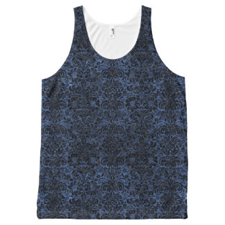 DAMASK2 BLACK MARBLE & BLUE STONE (R) All-Over PRINT SINGLET