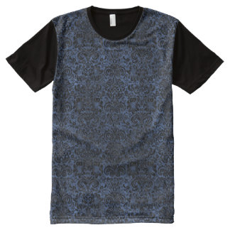 DAMASK2 BLACK MARBLE & BLUE STONE (R) All-Over PRINT T-Shirt