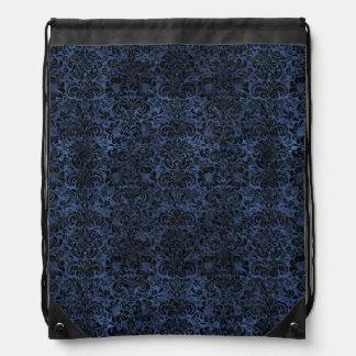 DAMASK2 BLACK MARBLE & BLUE STONE (R) DRAWSTRING BAG