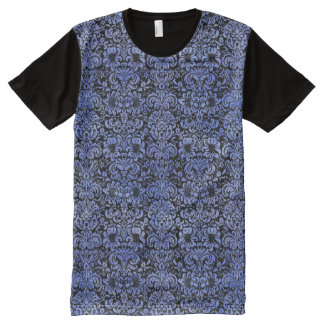 DAMASK2 BLACK MARBLE & BLUE WATERCOLOR All-Over PRINT T-Shirt