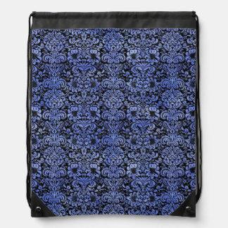 DAMASK2 BLACK MARBLE & BLUE WATERCOLOR DRAWSTRING BAG